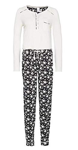 Calvin Klein Damen Pyjama Schlafanzug, Fb. Off White/Black Gr. M