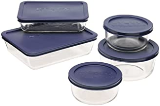 Pyrex Simply Store 10-Piece Glass Food Storage Set with Blue Lids