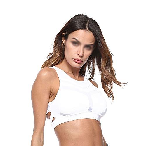 QiHaoHeji Sport-BH für Damen, atmungsaktiv, vorne, Yoga-Oberteil, stoßfest, ohne Ring aus Stahl, Sport-BH M weiß