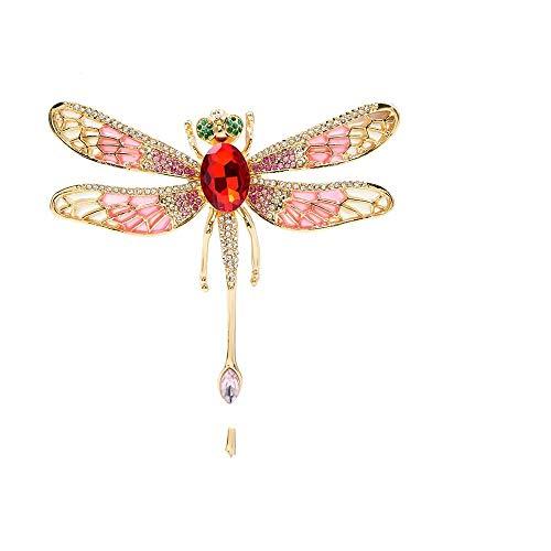 Qylfsxb Broche Recién Llegado, Broches De Libélula Esmaltados Muy Grandes para Mujer, Pin De Insectos De Moda con Diamantes De Imitación, Hermoso Regalo De Joyería
