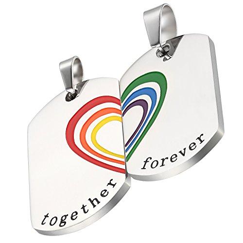 Flongo El Orgullo LGTB, Corazón Partido Arco Iris, Collares para Parejas Gay Enamorados, Colgante de corazón, Buen Regalo para San Valentín, Navidad, Plateado