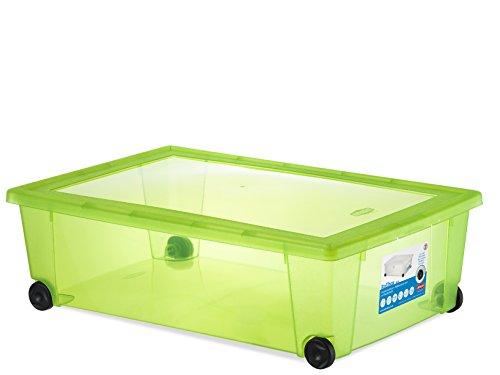 Stefanplast Rollo Caja Multiusos, con Ruedas, Verde Fluorescente, 59x 39x 18,5cm