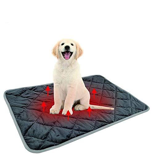 Queta Almohadilla Térmica para Mascotas, Almohadilla Calefactora Manta Autocalentable para Perros y Gatos de Invierno, Lavable Plegable y Antideslizante Gris L:58 * 88CM