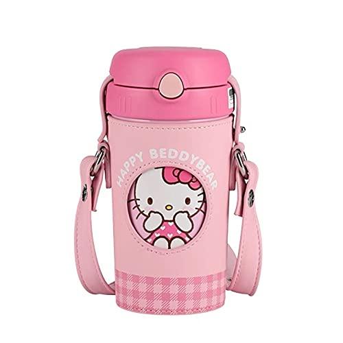 Velyon Linda historieta Hello Kitty 316 acero inoxidable nuevo estilo taza de vacío para niñas para niños con pajitas con correas portátiles Capacidad 520ml