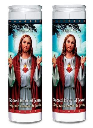 Sacred Heart Of Jesus White 2 Pack Set Religious Candles