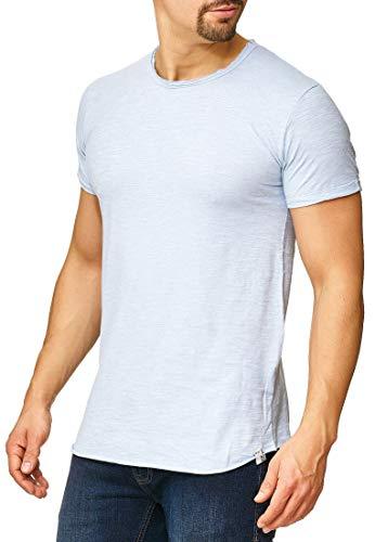 Indicode Herren Willbur Tee T-Shirt mit Rundhals-Ausschnitt aus 100% Baumwolle | Regular Fit Kurzarm Shirt einfarbig od. Kontrast Markenshirt in 30 Farben S-3XL für Männer Sky Way M
