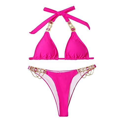Bikinis Color Liso de Decoración de Cristal para Mujer Bañadores Cuello Halter Traje de Baño con Relleno Retirable Ropa de Baño de Playa Swimsuit Ideal para Buceo,Natación,Surf