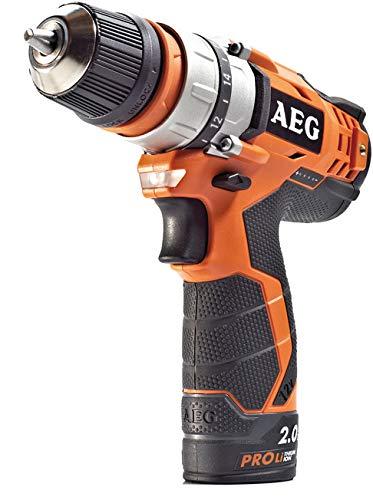 Aeg 4935446693 Sencillo inalámbrico taladro eléctrico 12 V / 2 A portabrocas sin llave, 24 W, Negro, Naranja