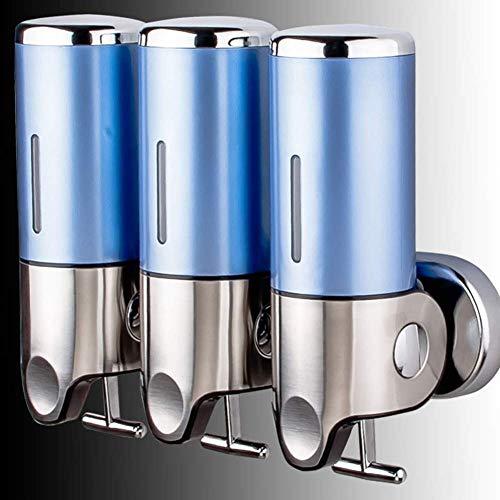Triple Pared Instalacion Jabon Tesorero, 3 X 500ML El champú Y Bomba, Inoxidable Acero para Cuarto de baño La Cocina Inicio Escuela O Bien Hospital Hotel Soap Dispenser,Azul