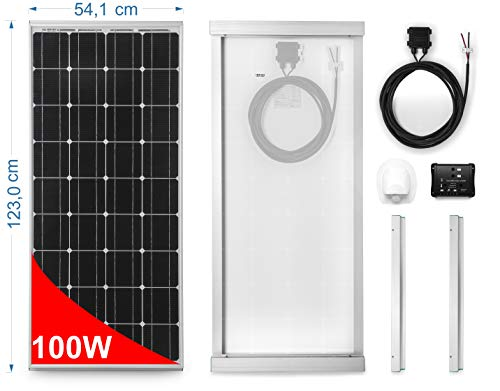 Direct Importer Monocrystalline solar panel 100W for Caravans and Motorhomes. Complete kit with installation accessories and 10A charge controller for two batteries