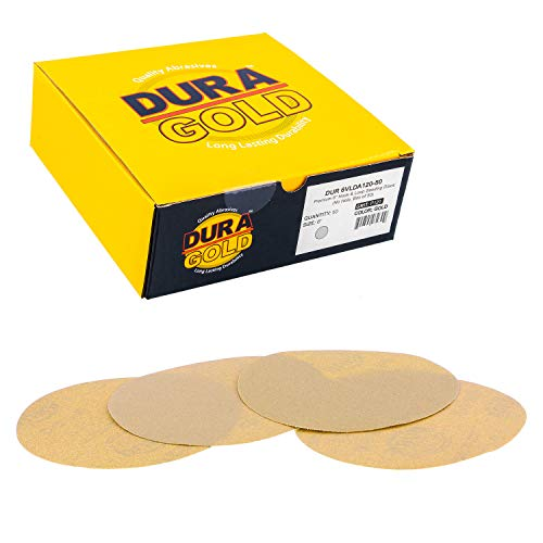 """Dura-Gold - Premium - 120 Grit 6"""" Gold Hook & Loop No Hole Sanding Discs for DA Sanders - Box of 50 Sandpaper Finishing Discs for Automotive and Woodworking"""