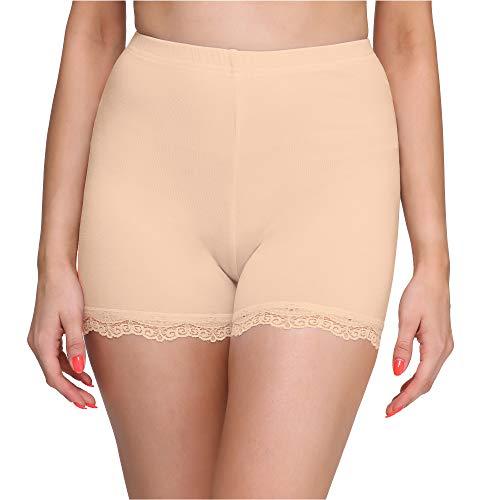 Merry Style Damen Shorts Radlerhose Unterhose Hotpants Kurze Hose Boxershorts aus Viskose MS10-294 (Beige, L)
