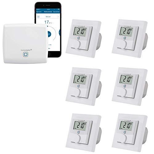 Homematic IP kabelgebundene Fußbodenheizungssteuerung zur Einzelraumregelung in 6 Räumen - Zentrale und 6 Digitale Thermostate mit Schaltausgang. Mit App Steuerung und Fernzugriff.