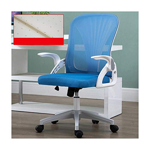 Home Office Chair Modern Mid Back Mesh Padded Computer Task Seat with Armrests Ergonomic Lumbar Support and Swivel Casters for Leisure, 1 (White Blue)