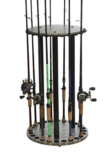 Organized Fishing- Round High Capacity Floor Rack for Fishing Rod Storage, 24 Rod Capacity, 17.7' x 30.7', Camo Finish (CRR-024)