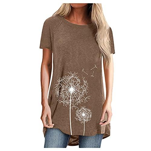 FMYONF Camiseta de manga corta para mujer con diseño de diente de león, cuello redondo, estilo informal, tallas grandes, tallas S-3XL (café, S)