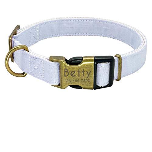 ZYYC Nylon Dog Collar Personalized Pet Collar Engraved ID Tag Nameplate Reflective for Small Medium Large Dogs Pitbull Pug-O_M