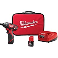 Milwaukee M12 12-Volt Lithium-Ion Cordless 1/4 Inch Hex Screwdriver Kit with Two 1.5Ah Batteries, Charger and Tool Bag