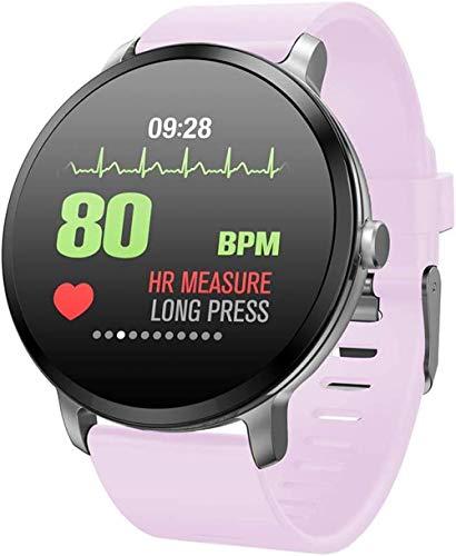 JSL Pantalla de color inteligente pulsera de frecuencia cardíaca presión arterial deportes reloj inteligente multifunción deportes reloj inteligente gris-rosa
