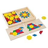 Melissa & Doug Pattern Blocks and Boards - Classic Toy with 120 Solid