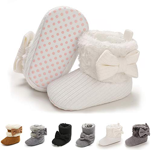 E-FAK Baby Girl Winter Snow Bowknot Boots Anti-Slip Soft Sole Warm Newborn Infant Toddler Prewalker Boots(D/White, 3-6Months)