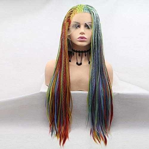 WarmHome Creativa Peluca Peluca De Pelo Natural del Frente del Cordón Sintético Arco Iris De Colores De Moda Creativa Natural (26 Pulgadas) Agradable