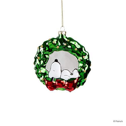 Butlers Hang ON - Glas Anhänger Wreath Ø 8 cm - Bunte Glaskugel - Einzigartiger Baumschmuck aus mundgeblasenem Glas - Dreidimensional und handbemalter Weihnachtsschmuck