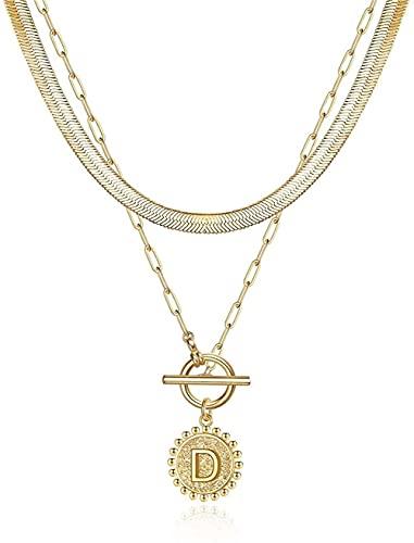 Collares con iniciales de oro en capas para mujer, cadena de clip chapada en oro de 14 quilates, collar en capas, simple y lindo,collar con inicial, collares de cadena de oro para mujer