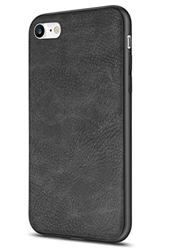 Salawat for iPhone 7 Case, Slim PU Leather iPhone 8 Case Vintage Shockproof Phone Case Cover Lightweight Premium Soft TPU Bumper Hard PC Hybrid Protective Case for iPhone 7/8 (Black)