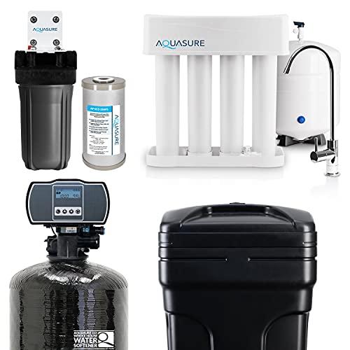 Aquasure Whole House Water Filtration Bundle w/Water Softener, 75 GPD RO System & Triple Purpose Sediment/GAC/Zinc Pre-Filter (64,000 Grains)