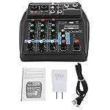 Fockety Mezclador de Audio, Mezclador estéreo Multiusos de 100~240 V, DJ de 4 Canales para producción de música en casa Webcast de Cubierta de Canciones para Cantar(American Plug)