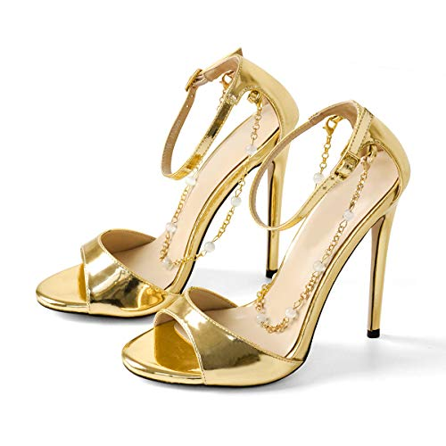 Richealnana Women's Ankle Strap Slim Heel High Heel Sandals Chains with Pearl Noble Gold US 6