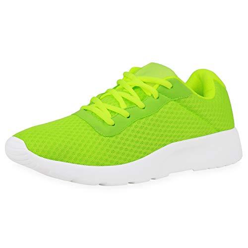 SCARPE VITA Herren Sportschuhe Laufschuhe Fitness Sneaker Freizeit Schuhe Schnürer Leichte Joggingschuhe Profilsohle 188557 Neon Grün 37