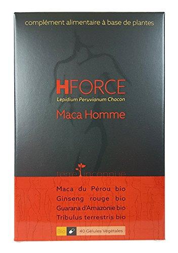 HForce orgánico de Maca - Terre Inconnue® - Maca Ginseng Guarana Tribulus para hombres - 40 cápsulas vegetarianas de 545 mg - Lepidium Peruvianum Chacon