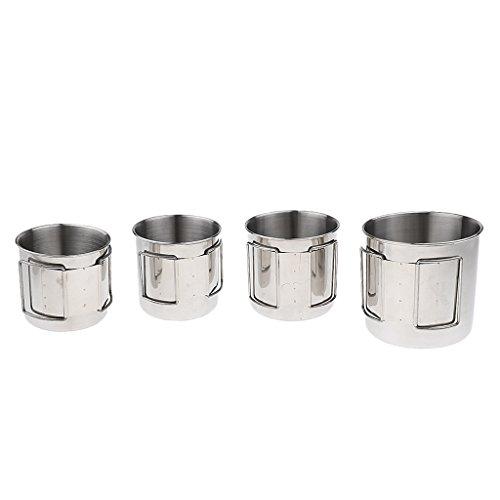 Amagogo Paquete de 4 Vasos de Agua de Acero Inoxidable con Tamaño Mixto - Camping Y Senderismo
