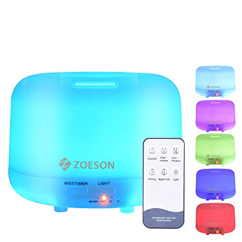 Zoeson 300mL Diffuseur d'Huiles Essentielles Diffuseur Aromathérapie Humidificateur Aromatique Ultrasonique, Lumière LED...