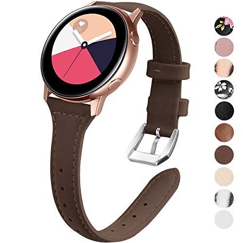 KIMILAR Armband Kompatibel mit Samsung Galaxy Watch 42mm/Watch Active/Active 2 (40mm/44mm)/Gear Sport Leder Armbänder Kompatibel mit Garmin Vivoactive 3/Forerunner 645/245/Vivomove HR,Ticwatch 2