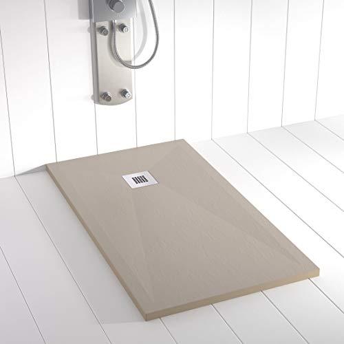 Shower Online Plato de ducha Resina PLES - 90x110 - Textura Pizarra - Antideslizante - Todas las medidas disponibles - Incluye Rejilla Inox y Sifón -Arena S 3005 Y 50R