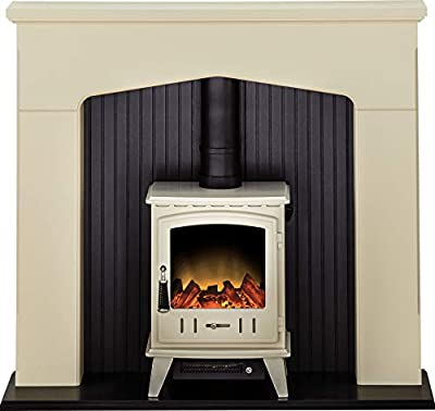 Adam Ludlow Stove Suite in Stone Effect with Aviemore Electric Stove in Cream Enamel, 48 Inch