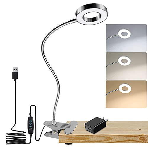 DLLT Dimmable Clip on Reading Light, 48 LED USB Bed Night Lights with 3 Colors, 15 Brightness Level Book Light Flexible Clamp for Makeup Mirror, Desk, Bedside, Headboard, Piano, Computer Light(Silver)