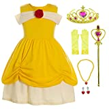 Princess Costume Dress Up Outfits for Infant Toddler Girls/Yellow Easter Birthday Dresses with Crown,Mace,Gloves,Necklace,Earrings 2T 3T