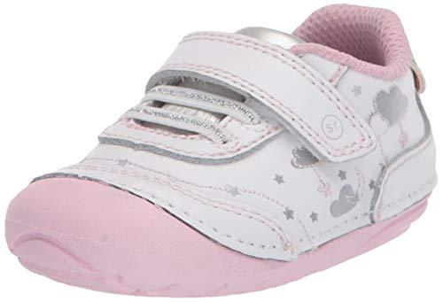 Stride Rite Girl's Soft Motion Adalyn Athletic Sneaker, White/Silver, 3 Infant