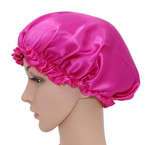 WJH Sleeping Naturel Soie de mûrier Bonnet de Nuit Bonnet Chapeau Head Couverture pour Beauty Hair avec Bande élastique pour Cheveux Perte de Sommeil Protection des Cheveux (2 pièces),Rose