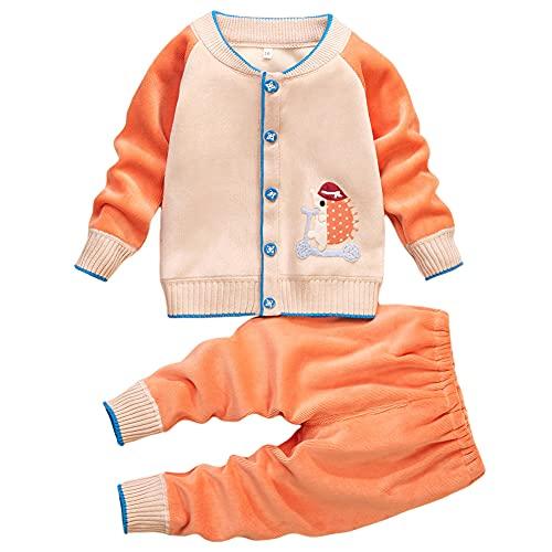 Miyanuby Bebé Niña Niño Abrigo Suéter Invierno Otoño Polar Cálido Abotonado Cárdigan + Cintura Elástica Pantalones Conjunto De Ropa para Bebés Niños Niñas 1-3 Años