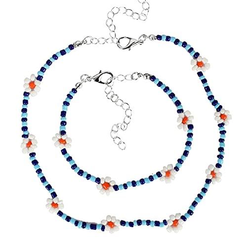 Jxuzh 2 piezas gargantilla de semillas collar de pulsera cuentas pequeñas Boho colorido collar de pulsera de flores collar ajustable de playa accesorios de joyería Hawaii collar para niñas azul