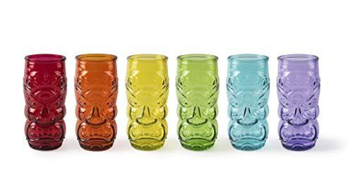 Excelsa Tiki - Juego de 6 vasos multicolor Long Drink 550 ml, cristal