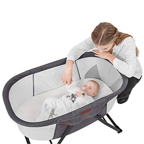 XJJUN Stubenwagen Faltbar Leicht Zu Tragen Anti-Mückenstiche Universalrad Stabil Geeignet Für Babys, 3 Farben 3 Arten (Color : Gray, Size : 84x51x68cm)