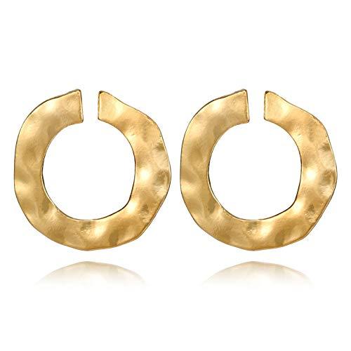 Pendientes Elégantes redonda círculo dorado martillado–Esprit Glamour Boho Bohemia Chic étnica tribal–ligera Design–regalo Ideal para mujer y joven