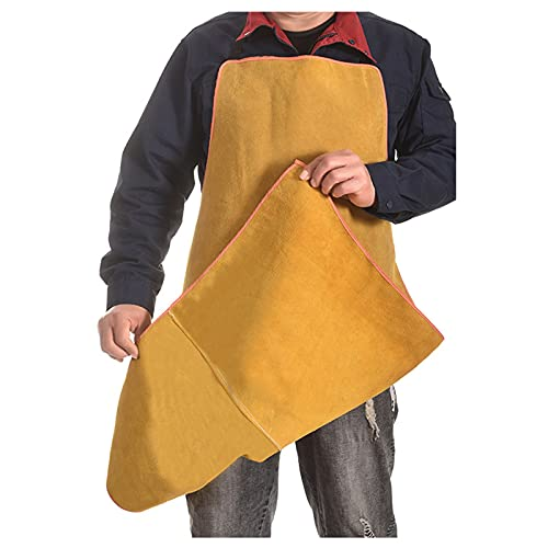 Welding Apron Cowhide Electric Welding Apron, Steel Smelting Electric Welding Work Clothes, Anti-Splash and Anti-Scald (Color : Yellow, Size : 100cm)