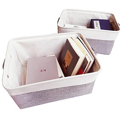 Grey White Fabric Storage Boxes-Large Storage Baskets Sturdy Handle Large Storage Cube Organizing Home Shelves 2Pack